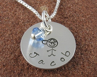 New Mother Pendant Sterling Silver Hand Stamped Personalized Jewelry With A Little Boy Stick Figure and Swarovski Birthstone Crystal