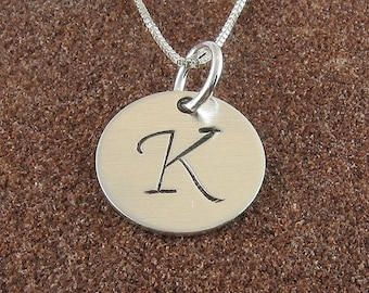 Monogram Initial Necklace,Sterling Silver Hand Stamped Uppercase Monogram Initial Pendant