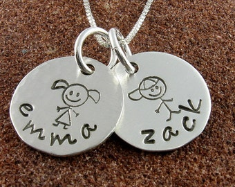 My Children -Stick Figure Name Pendant/Necklace-Sterling Silver Two Stick Figure Children with Names-Jewelry for Mother