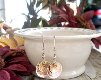 Multi Metal Textured Dangle Earrings- Sterling Silver, Copper and Brass