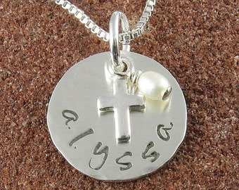 Double Sided Lowercase Name and Date Sterling Silver Pendant and Cross with Pearl or Birthstone Crystal/Holy Communion, Baptism, Christening