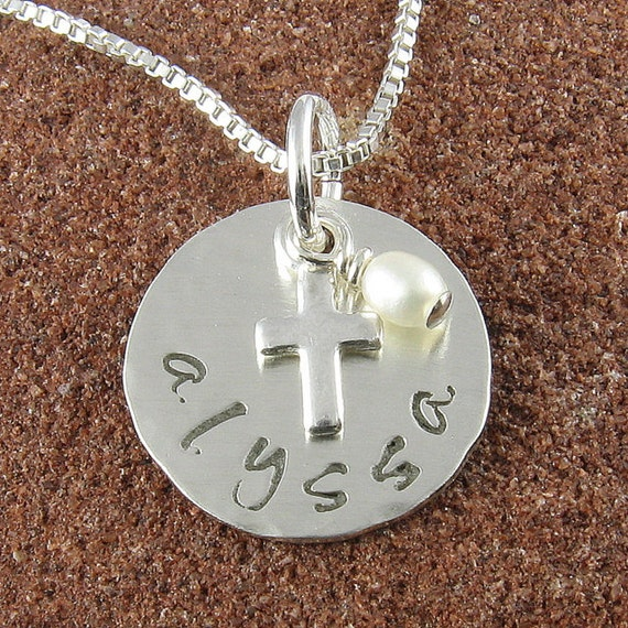 Double Sided-Lowercase Name and Date Sterling Silver Pendant and Cross with Freshwater Pearl-Holy Communion, Baptism, Christening