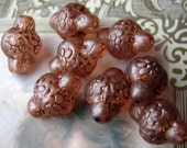 Amber vintage lantern etched beads