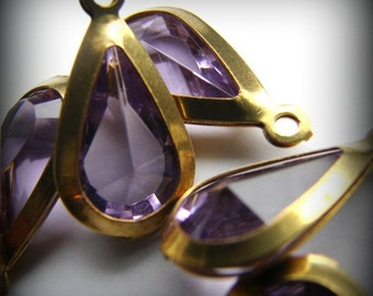 Pretty vintage faceted light amethyst  drops