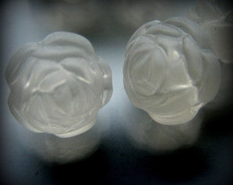 Small  frosty white  rose beads