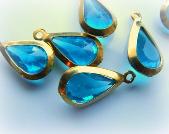 Pretty vintage faceted blue green drops