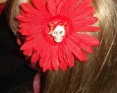 Red Rockabilly Daisy Heartbreaker Hair Accessory with Glitter skull and Red Bow
