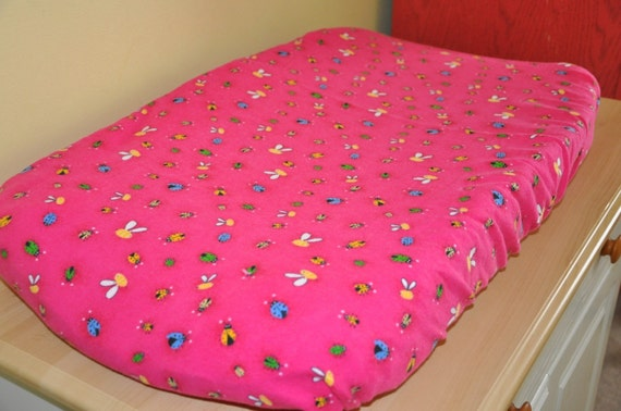 Lady Bug and Bumble Bee Flannel Changing Pad Cover