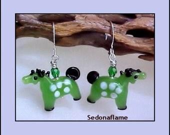 Green Lampwork Whimsical HORSE Earrings 0901gh