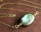 Flashy Labradorite - Gemstone Necklace - 14kt Gold Fill - Ready to Ship