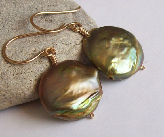 Large Olive Green Coin Pearl Earrings - Wire Wrapped in 14kt Gold Fill