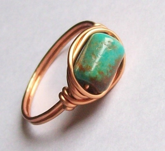 Arizona Turquoise Ring - Artisan Crafted - Coated Copper - Custom Sizes