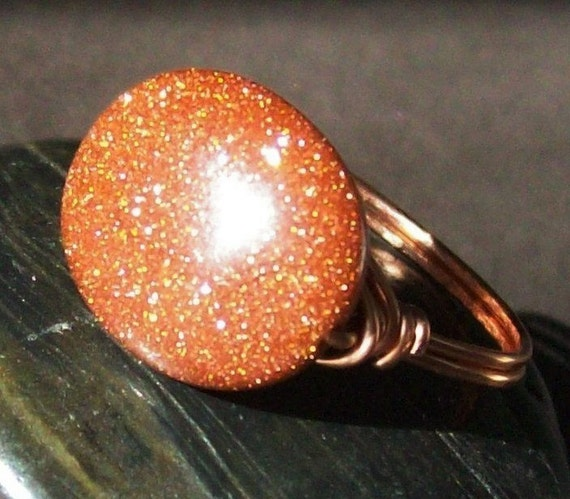 Sparkling Goldstone - Wire Wrapped Ring - Coated Copper - Custom Sizes