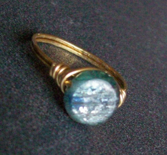 RESERVED - Extra Flashy, Round Kyanite Ring, petite, Low Profile, Custom Sizes, Wire Wrapped Ring