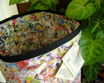Upcycled fused plastic trash can or recycle bin