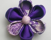 Japanese Kimono Flower Brooch / Pin , Purple -cotton and silk