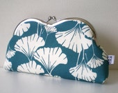 Japanese Kimono Framed Heart Pouch, Quilted, Ginkgo in teal blue