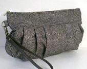 Colorful Nep Herringbone Tweed Wool Wristlet purse with a leather strap, Dark brown