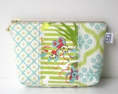 Zipper Pouch - M, patchwork Floral, Light blue and yellow green No.24