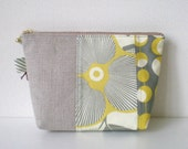 Patchworked Cosmetic Pouch,  Flower in yellow and grey