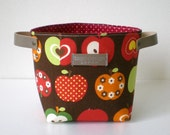 Fabric organizer basket with leather handles - Apple in brown