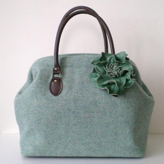 Nep tweed wool Boston bag, Bluish green with a leather corsage