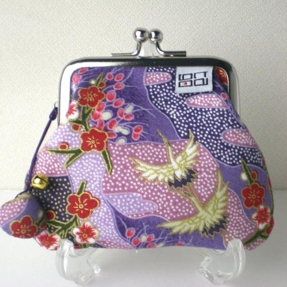 Japanese Kimono Clip Coin Purse, Crane in Purple