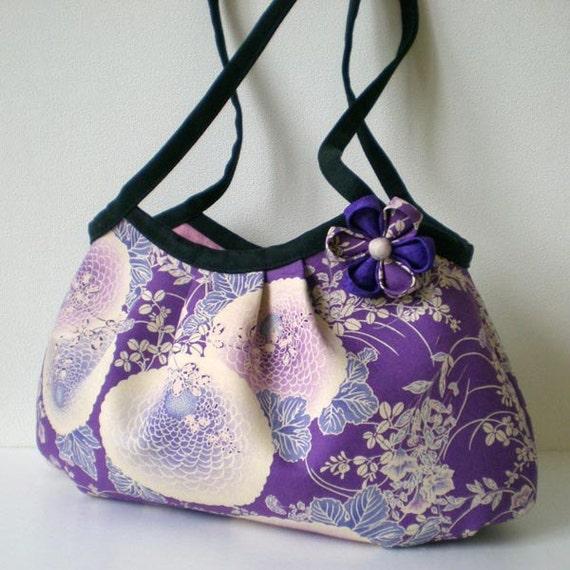 Japanese kimono Mini granny bag, Kiku flower in purple