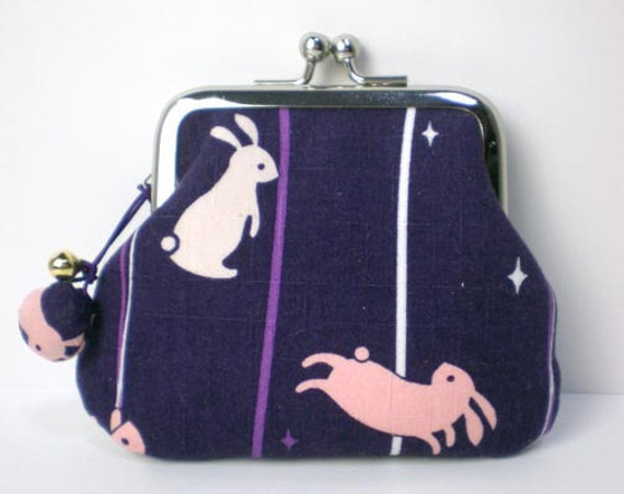 Coin Purse with a little shell bell, Rabbit and Moon in purple