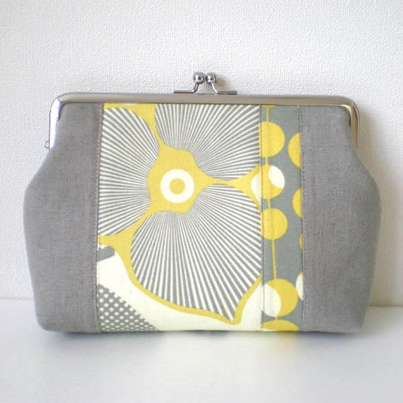 Patchworked quilted frame pouch, Optic Blossom yellow and grey