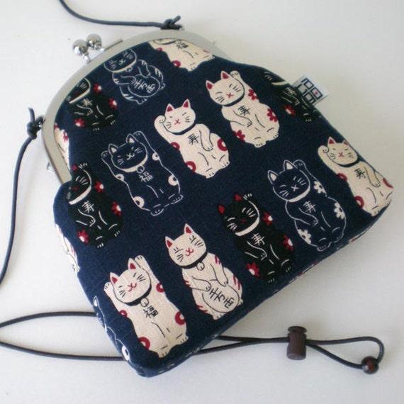 Shoulder Frame Pouch, Lucky cats Maneki neko in Navy