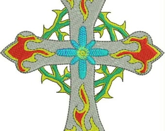 Tattoo Inspired Flaming Cross Embroidery Design
