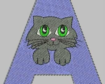 Fun Feline Alphabet Embroidery Design Collection