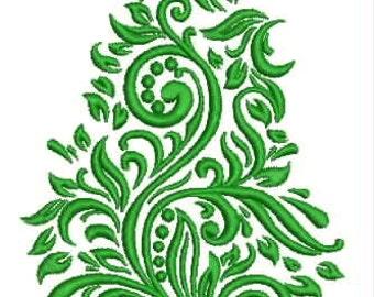 Damask Christmas Tree Embroidery Design