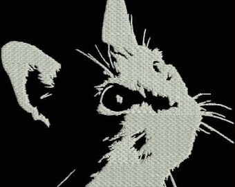 Curious Cat Embroidery Design