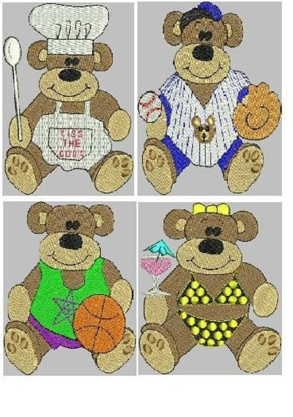 Bears at Work and Play Embroidery Design Collection