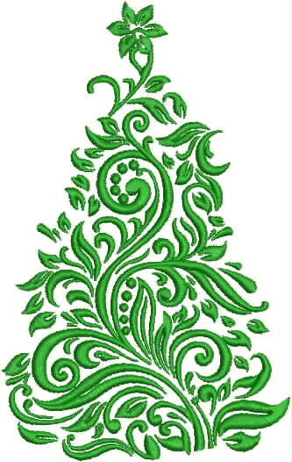 Items Similar To Damask Christmas Tree Embroidery Design