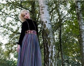 Vintage Velvet and Multi stripe MAXi dress late 1970s-1980