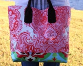 The Simple Tote in Sandlewood Ivory and Pink Laminate - OoaK - brown suede strap (ready to ship)
