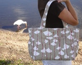 The Alexis Diaper Bag - ORGANIC - Ginkgo Snow
