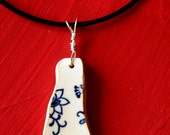 Blue Flowers - Beachcombed pottery Necklace