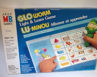 Vintage GloWorm Light and Learn Game, Glo worm Doll Board Game Glow worm Toy