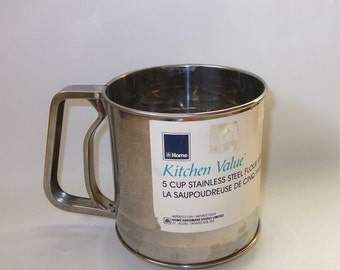 Vintage Stainless Steel Sifter - Vintage Kitchenware