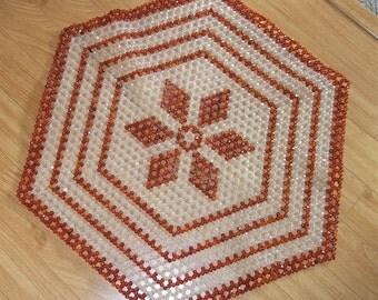 Vintage Hexagon Beaded Table Centerpiece, Beads, Retro Decor, Tableware, Placement Mat