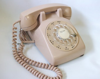 Vintage Rotary Dial Telephone, Vintage Phone, Tan Colour, Retro Home Decor