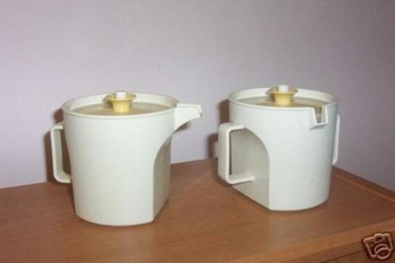 Vintage Tupperware Cream and Sugar Set Harvest Gold