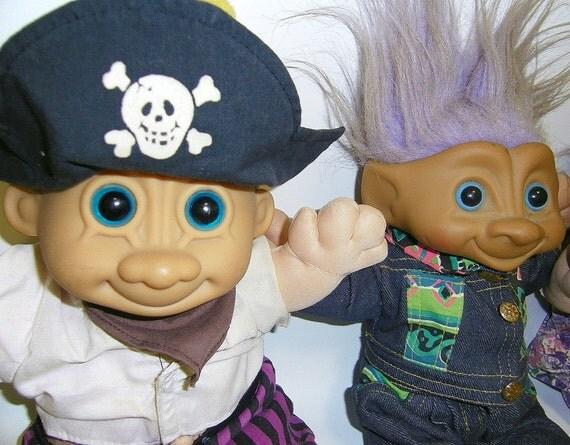 Vintage Plush Trolls Dolls Pirate Doll Magic Nursery Doll