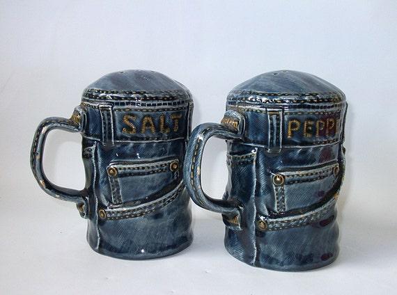 Vintage Ceramic Salt and Pepper Shakers, Blue Jeans
