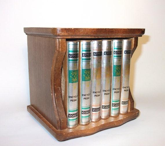 Vintage Teak Wood Coasters Encyclopedia Books Retro Home Decor