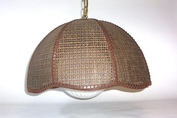 Vintage Retro Wicker Swag Lamp With Milky White Glass Globe